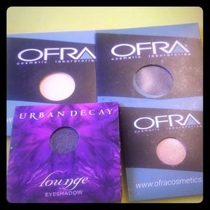 Ofra and Urban Decay eyeshadows and highlighter
